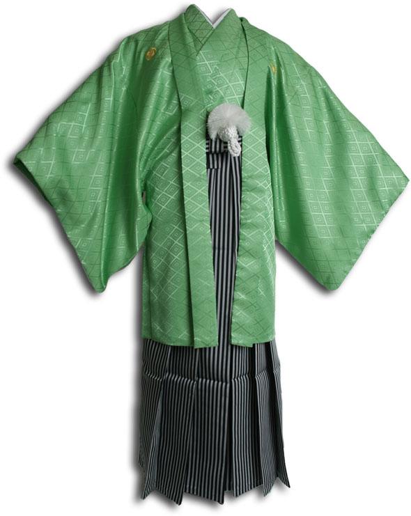 |送料無料|【成人式・卒業式】男性用レンタル紋付き袴フルセット-6809