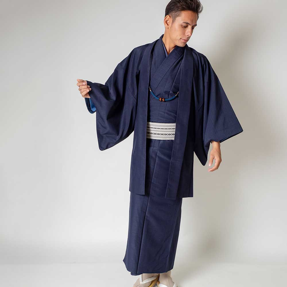 |送料無料|メンズ着物アンサンブル【対応身長165cm〜175cm】【 Mサイズ】フルセットー着物ネイビー×羽織ネイビー|往復送料無料|和服|
