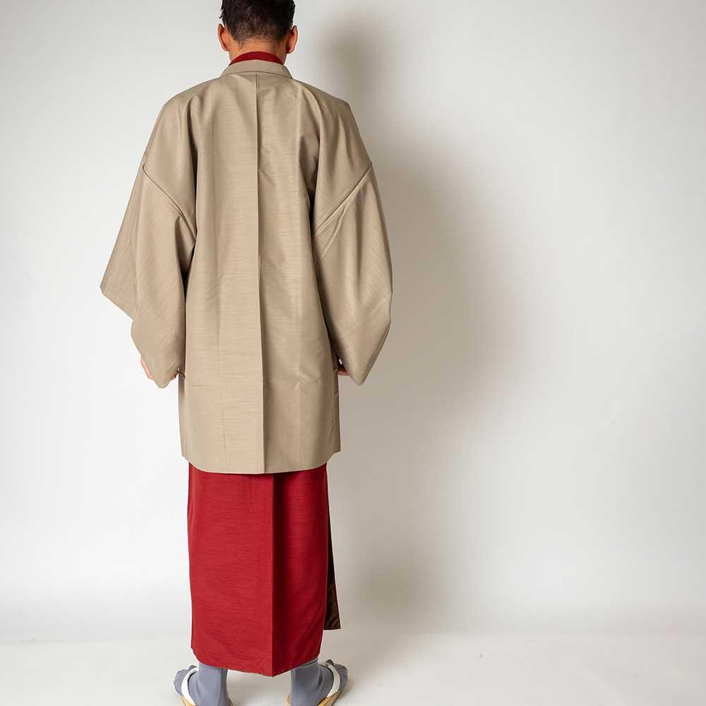 |送料無料|メンズ着物アンサンブル【対応身長165cm〜175cm】【 Mサイズ】フルセットー着物レッド×羽織ベージュ|往復送料無料|和服|お