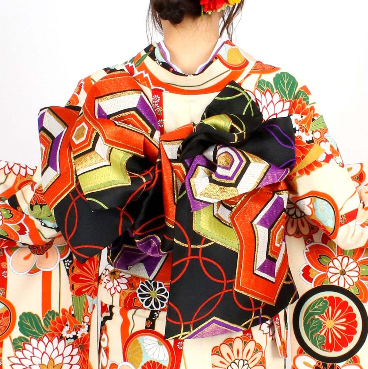 【成人式】 [安心の長期間レンタル]【対応身長150cm〜165cm】レンタル振袖フルセット-917 花柄 レトロ クール系 ポップキュート 黄色系 オレンジ系 菊 総柄