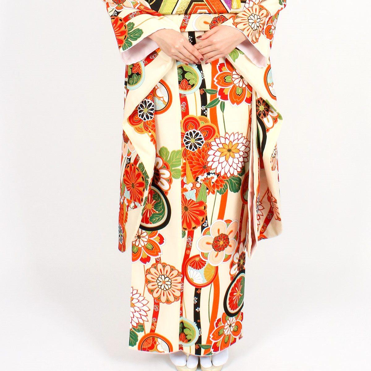【成人式】 [安心の長期間レンタル]【対応身長150cm〜165cm】レンタル振袖フルセット-917|花柄|レトロ|クール系|ポップキュート|黄色系|オレンジ系|菊|総柄