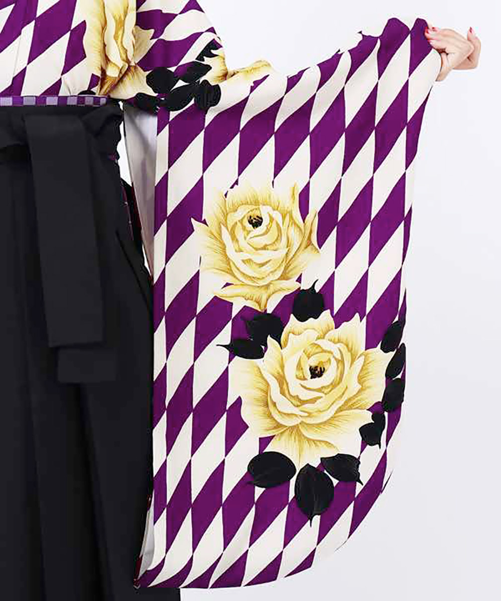 【h】|送料無料|【対応身長157cm〜165cm】【レトロ】卒業式レンタル袴フルセット-1113|マルチカラー|花柄|薔薇|ダイヤ|白|紫|黒