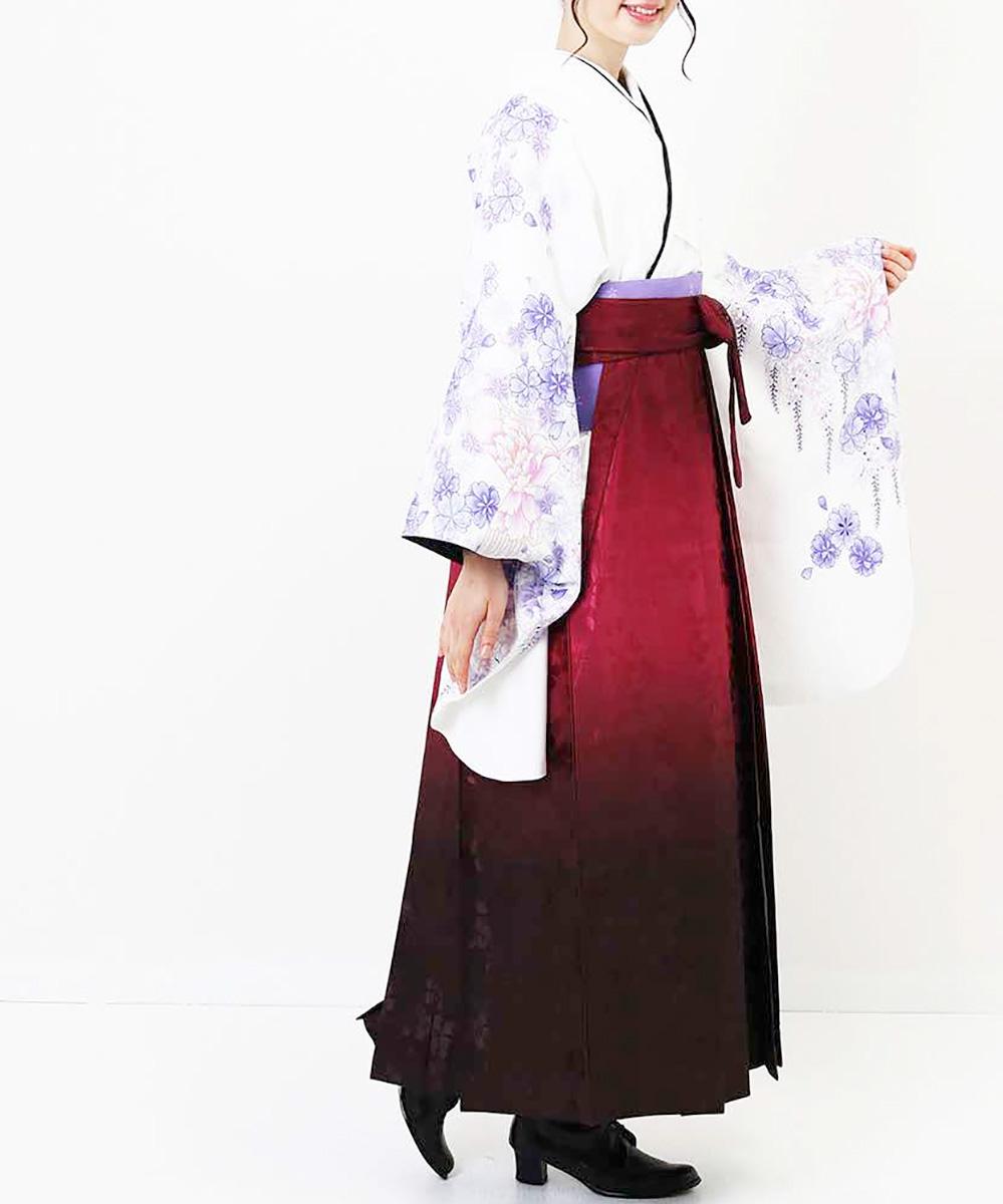 【h】|送料無料|【対応身長157cm〜165cm】【正統派】卒業式レンタル袴フルセット-907|マルチカラー|花柄|桜|白|ワイン|