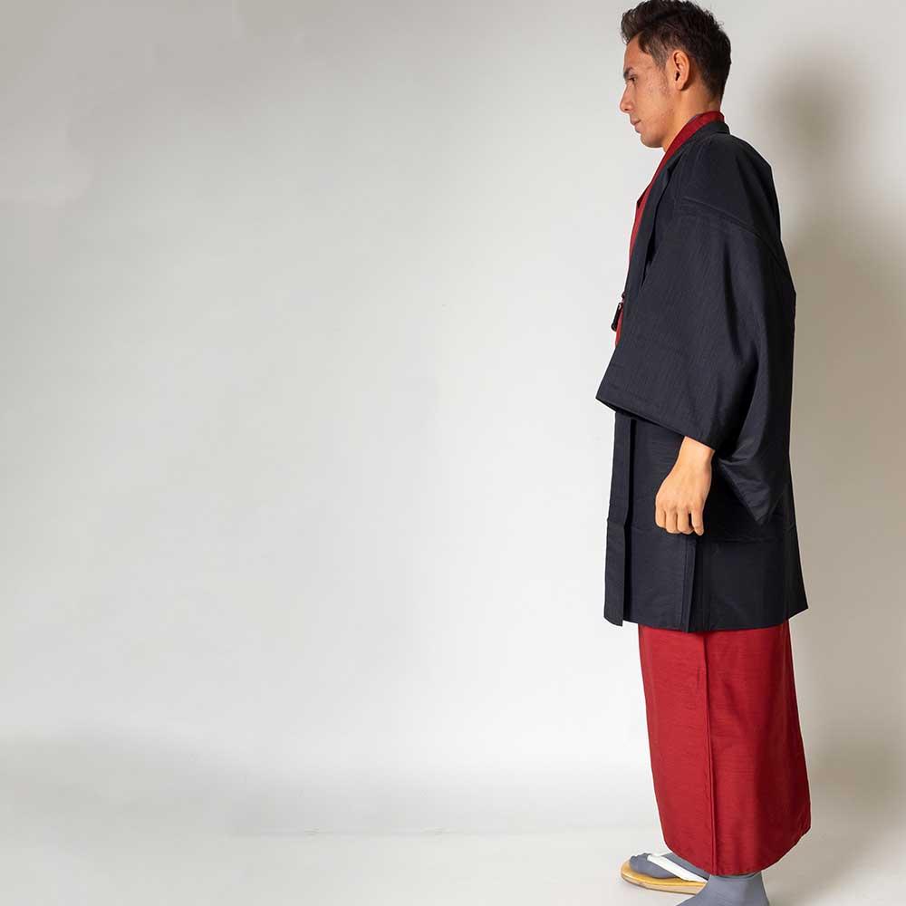 |送料無料|メンズ着物アンサンブル【対応身長175cm〜185cm】【 LLサイズ】フルセットー着物レッド×羽織ブラック|往復送料無料|和服|お