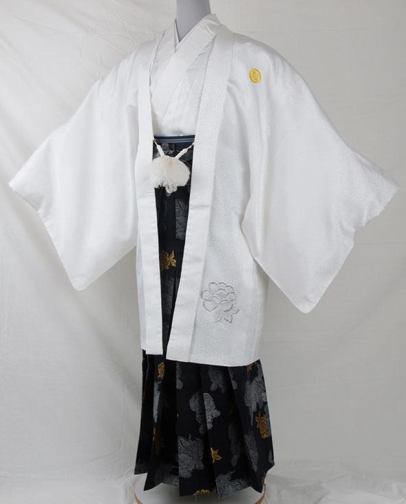 |送料無料|【成人式・卒業式】男性用レンタル紋付き袴フルセット-6814