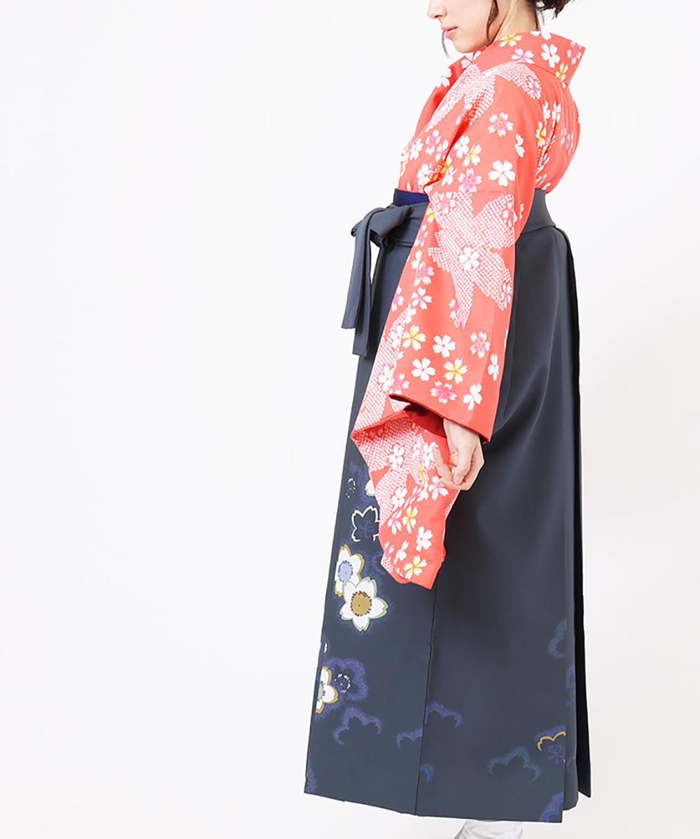 |送料無料|【対応身長150cm〜157cm】【キュート】卒業式レンタル袴フルセット-799|マルチカラー|花柄|桜|オレンジ|グレー|ピンク