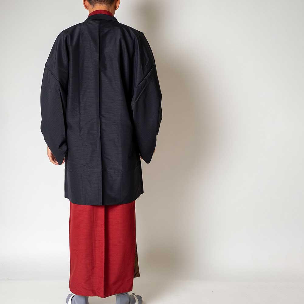 |送料無料|メンズ着物アンサンブル【対応身長165cm〜175cm】【 Mサイズ】フルセットー着物レッド×羽織ブラック|往復送料無料|和服|お