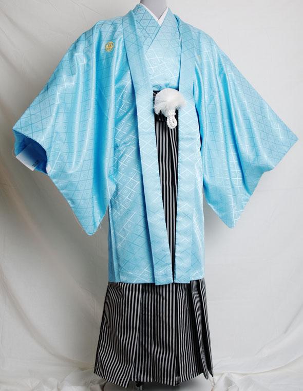 |送料無料|【成人式・卒業式】男性用レンタル紋付き袴フルセット-6815