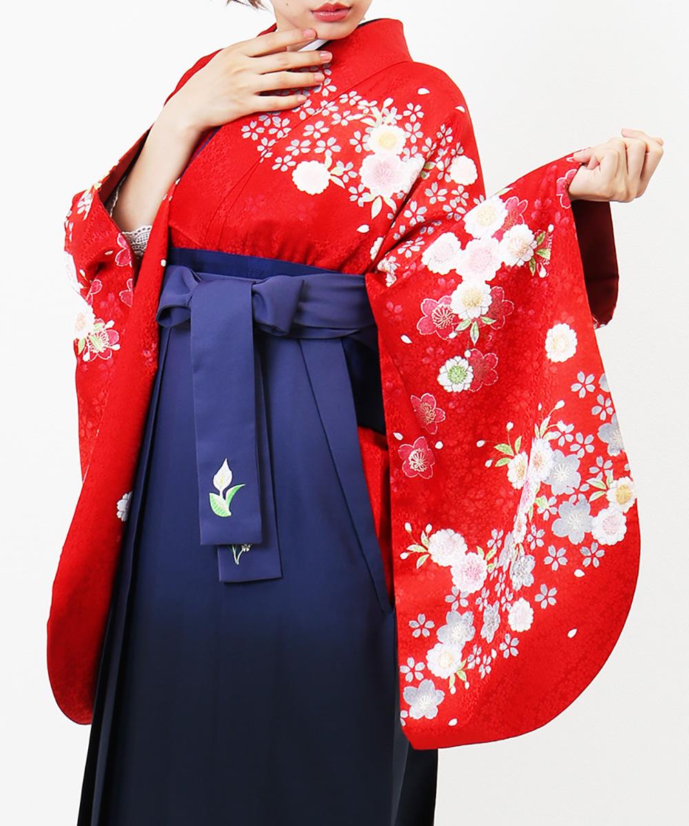 【h】|送料無料|【対応身長157cm〜165cm】【正統派】卒業式レンタル袴フルセット-800|マルチカラー|花柄|桜|撫子|赤|紫|