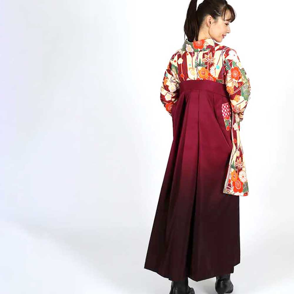 |送料無料|卒業式レンタル袴フルセット-1800
