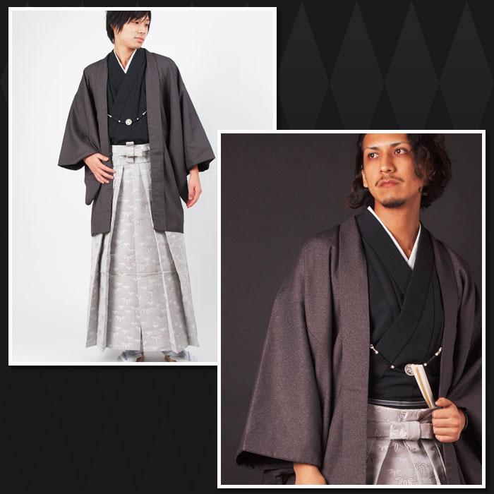 |送料無料|【成人式・卒業式】男性用レンタル紋付き袴フルセット-7108