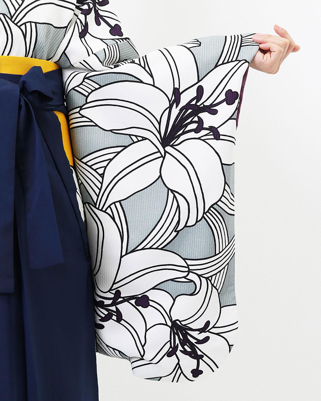 |送料無料|【対応身長157cm〜165cm】【レトロ】卒業式レンタル袴フルセット-801|マルチカラー|花柄|百合|グレー|白|紺|