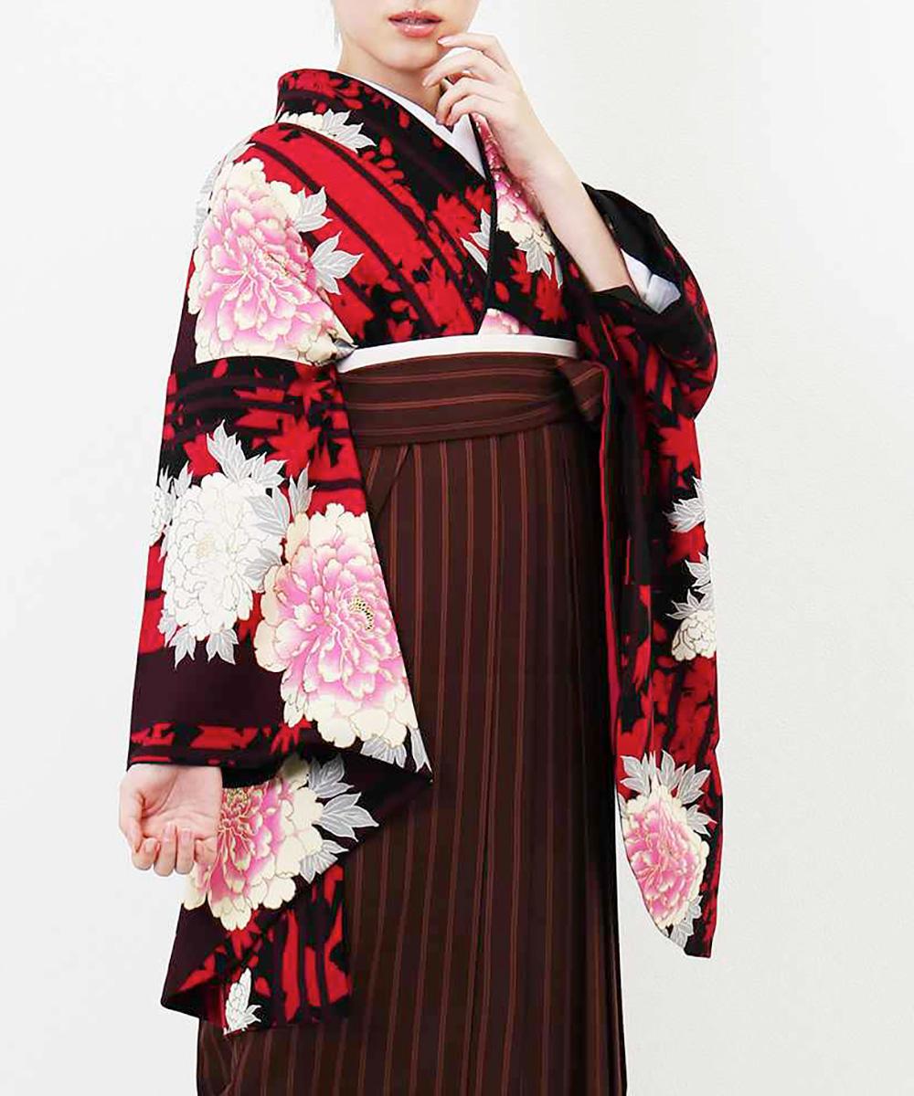 【h】|送料無料|【対応身長157cm〜165cm】【正統派】卒業式レンタル袴フルセット-1222|マルチカラー|花柄|牡丹|ストライプ|ワイン|ブ