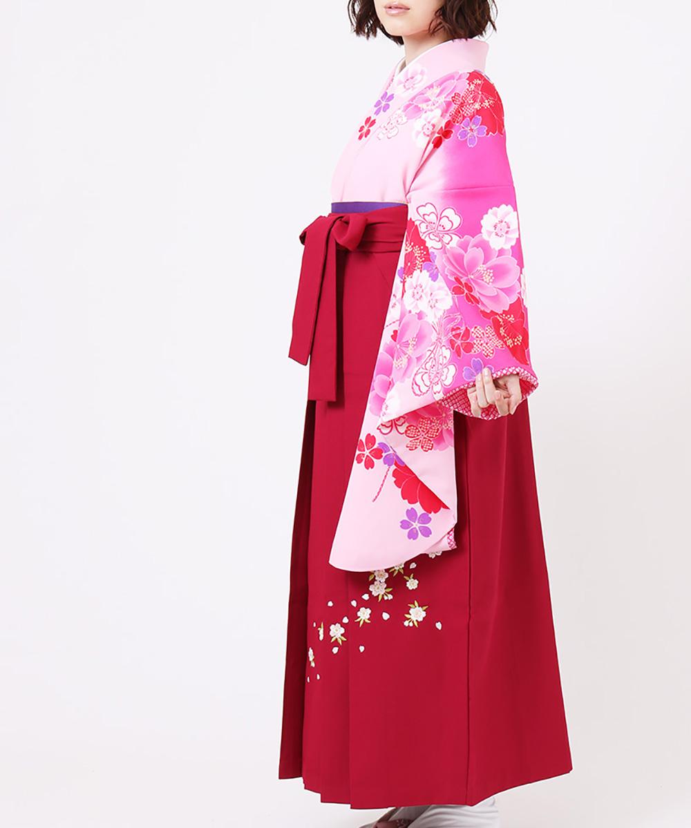 【h】|送料無料|【対応身長150cm〜157cm】【キュート】卒業式レンタル袴フルセット-802|マルチカラー|ピンク|花柄|桜|