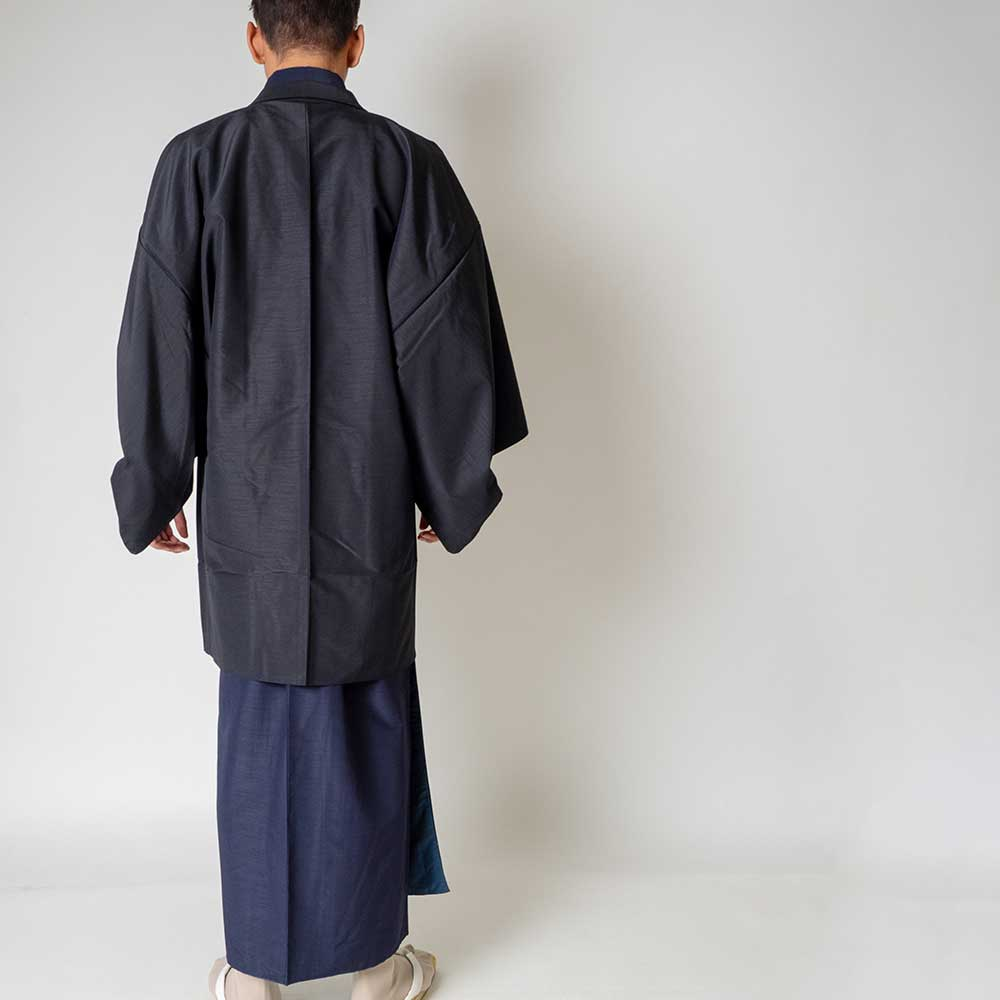  送料無料 メンズ着物アンサンブル【対応身長180cm〜190cm】【 3Lサイズ】フルセットー着物ネイビー×羽織ブラック 往復送料無料 和服 