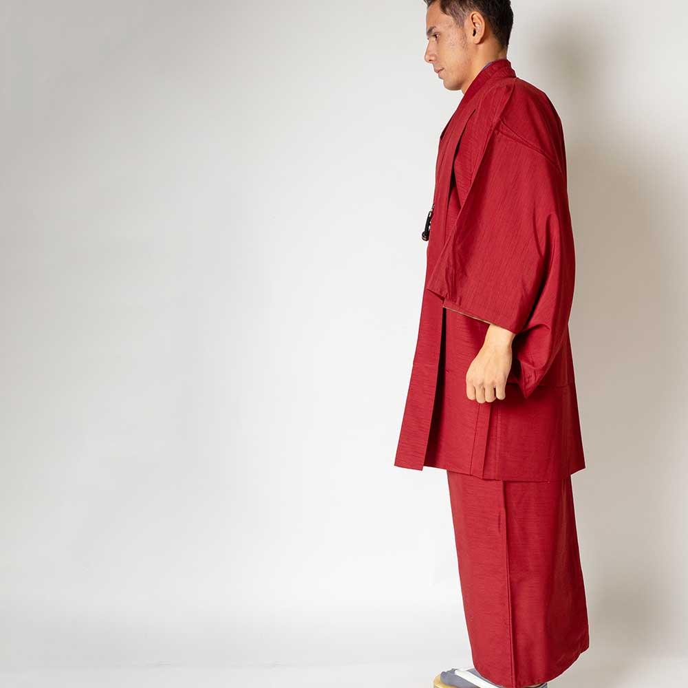 |送料無料|メンズ着物アンサンブル【対応身長180cm〜190cm】【 3Lサイズ】フルセットー着物レッド×羽織レッド|往復送料無料|和服|お正