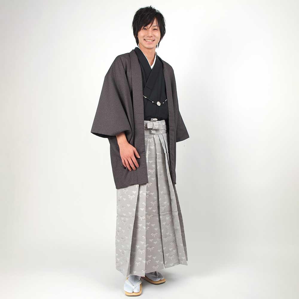 |送料無料|【成人式・卒業式】男性用レンタル羽織袴フルセット-7110
