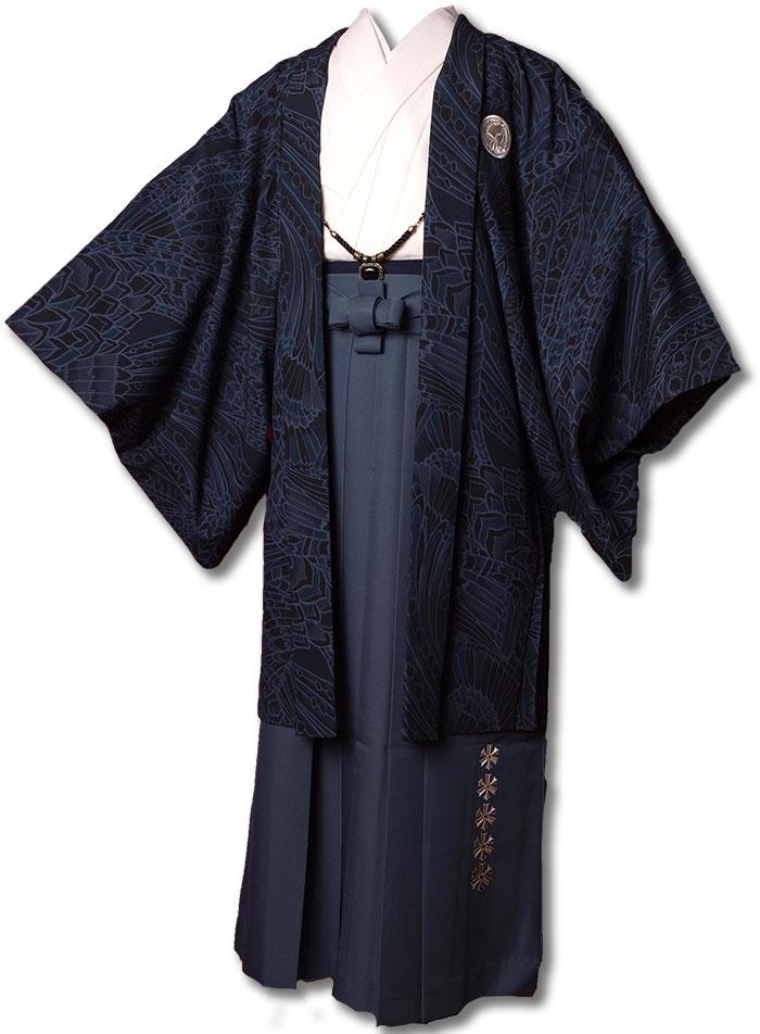 |送料無料|【成人式・卒業式】男性用レンタル紋付き袴フルセット-7278