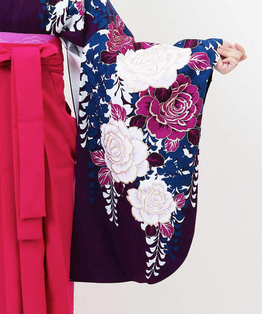 【h】|送料無料|【対応身長157cm〜165cm】【キュート】卒業式レンタル袴フルセット-1223|マルチカラー|花柄|薔薇|青|紫|ピンク|