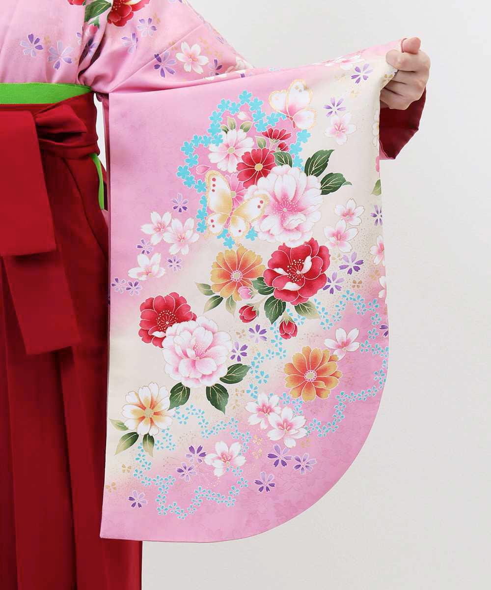 【h】|送料無料|【対応身長150cm〜157cm】【キュート】卒業式レンタル袴フルセット-546|マルチカラー|花柄|桜|ピンク|赤|