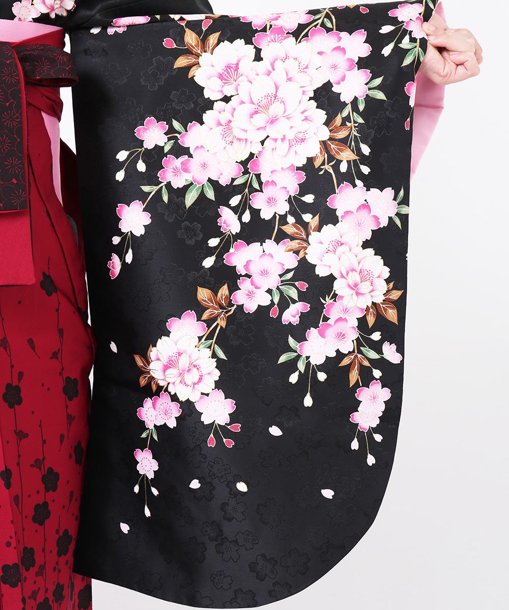 【h】|送料無料|【対応身長157cm〜165cm】【正統派】卒業式レンタル袴フルセット-804|マルチカラー|花柄|桜|黒|ピンク|赤|