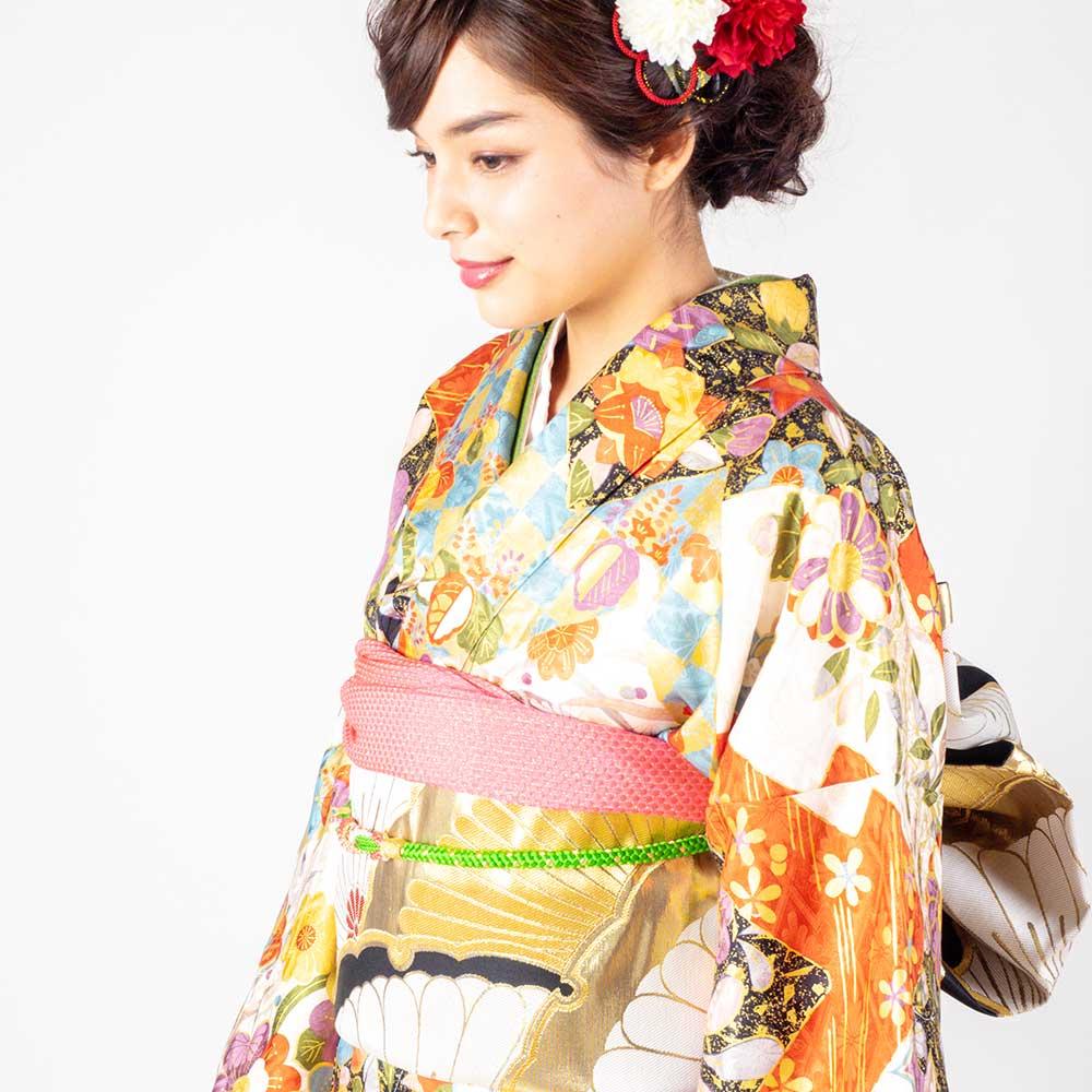 【成人式】 [安心の長期間レンタル]【対応身長155cm〜170cm】レンタル振袖フルセット-922 花柄 レトロ 定番 古典 綸子 椿 紅葉 地模様 金