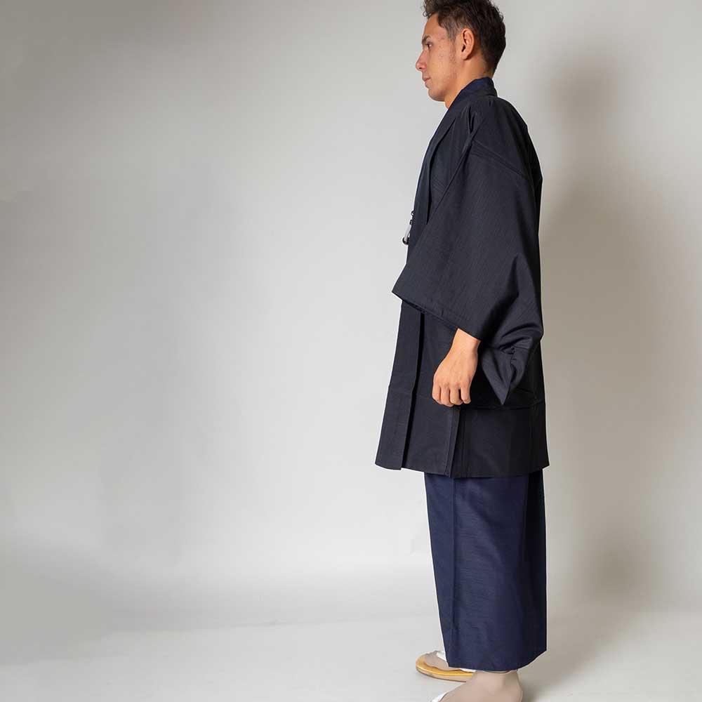 |送料無料|メンズ着物アンサンブル【対応身長165cm〜175cm】【 Mサイズ】フルセットー着物ネイビー×羽織ブラック|往復送料無料|和服|