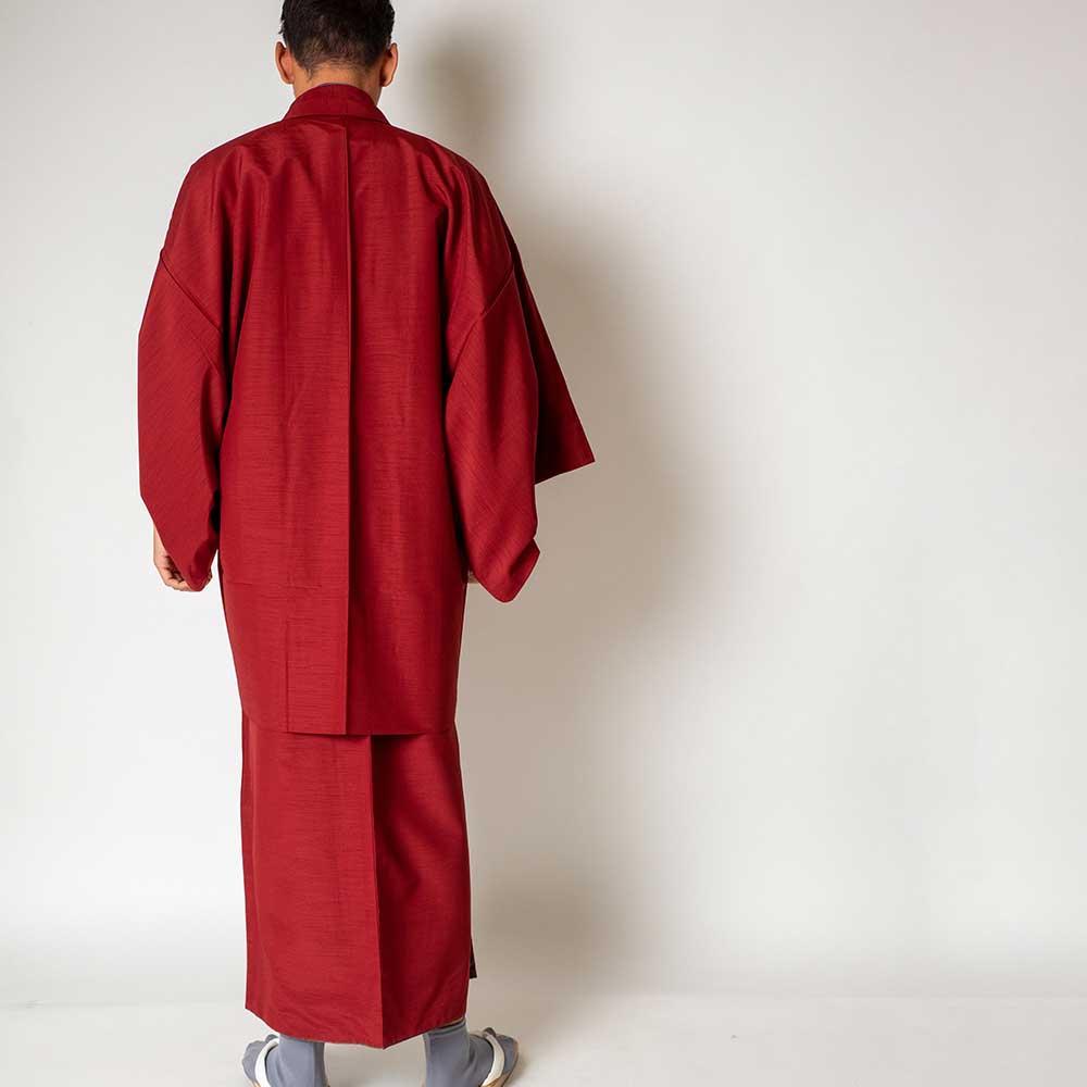 |送料無料|メンズ着物アンサンブル【対応身長165cm〜175cm】【 Mサイズ】フルセットー着物レッド×羽織レッド|往復送料無料|和服|お正