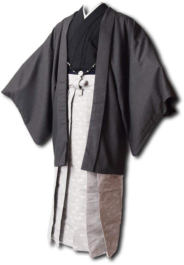 |送料無料|【成人式・卒業式】男性用レンタル羽織袴フルセット-7111