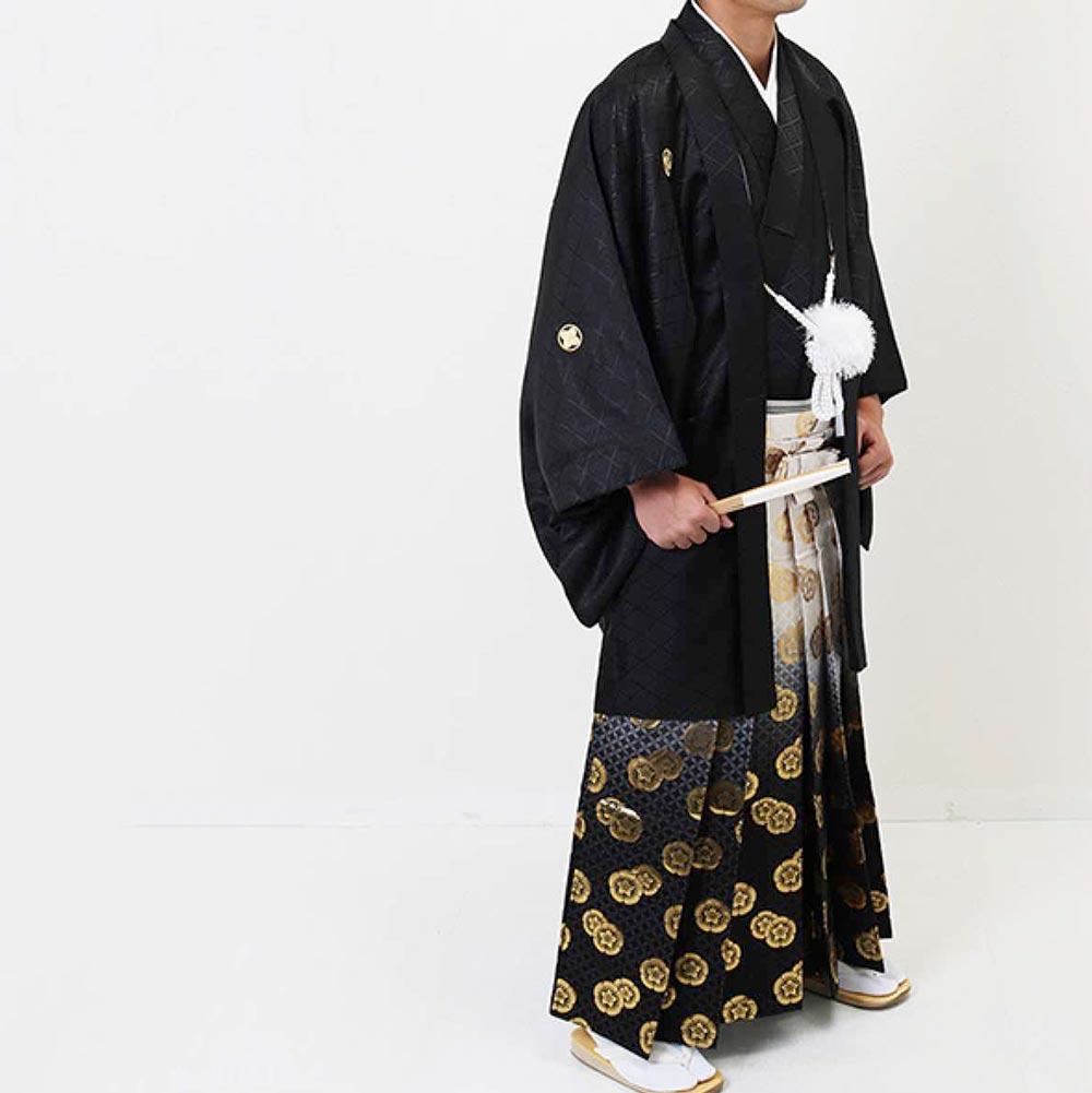 |送料無料|【2020年成人式】男性用レンタル紋付き袴フルセット-7281
