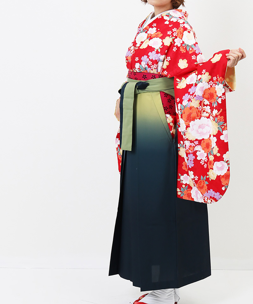 |送料無料|【対応身長157cm〜165cm】【正統派】卒業式レンタル袴フルセット-1225|マルチカラー|牡丹|オレンジ|赤|緑|
