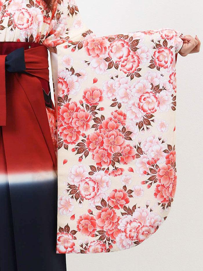 【h】|送料無料|【対応身長165cm〜173cm】【キュート】卒業式レンタル袴フルセット-806