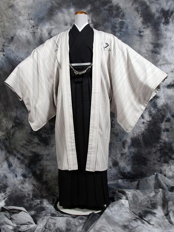 |送料無料|【成人式・卒業式】男性用レンタル紋付き袴フルセット-7001