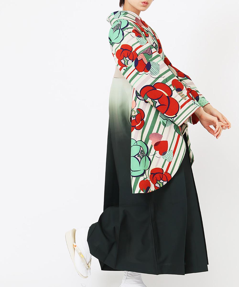 【h】|送料無料|【対応身長150cm〜157cm】【レトロ】卒業式レンタル袴フルセット-1226|マルチカラー|花柄|梅|ストライプ|緑|白|