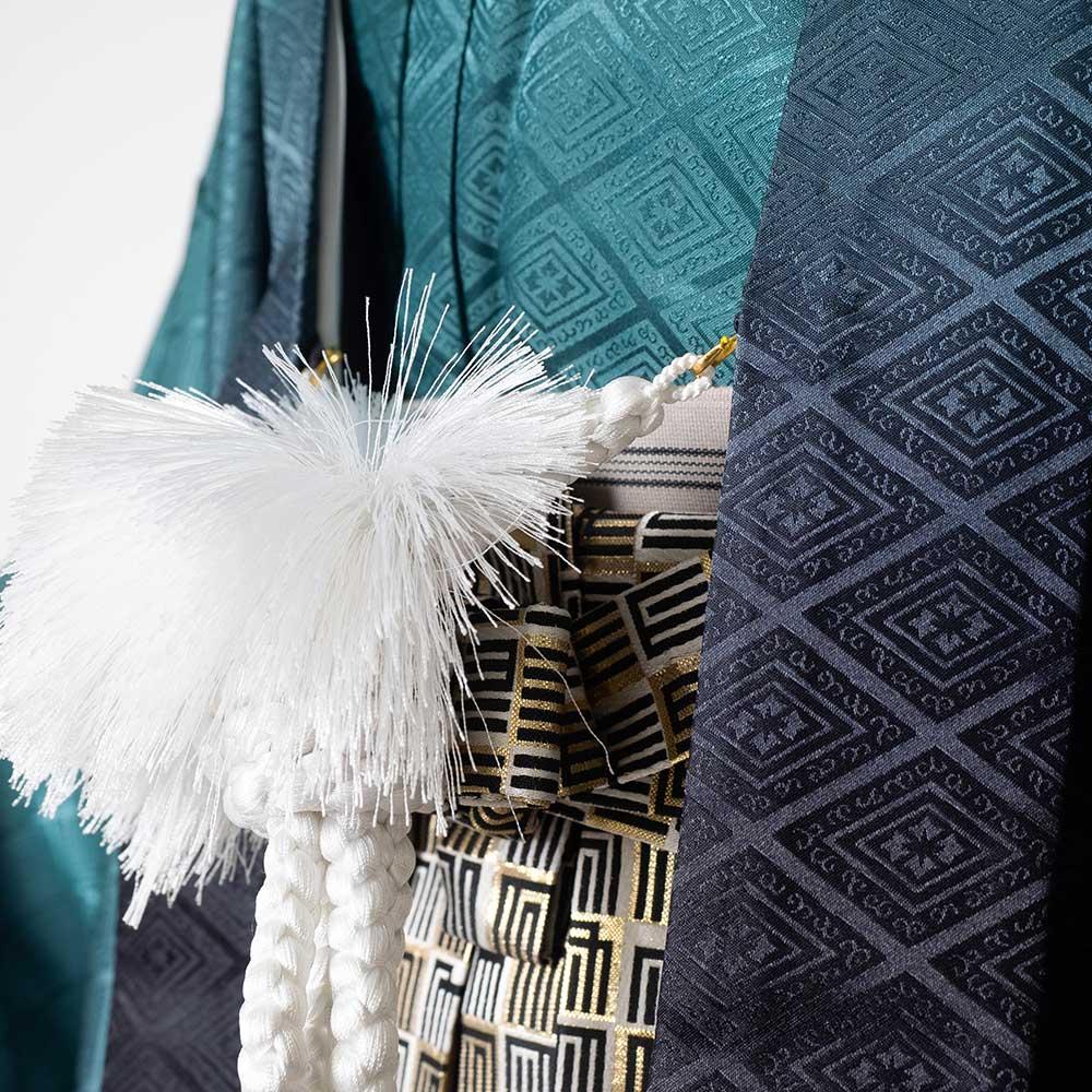 |送料無料|【成人式・卒業式】男性用レンタル紋付き袴フルセット-7411