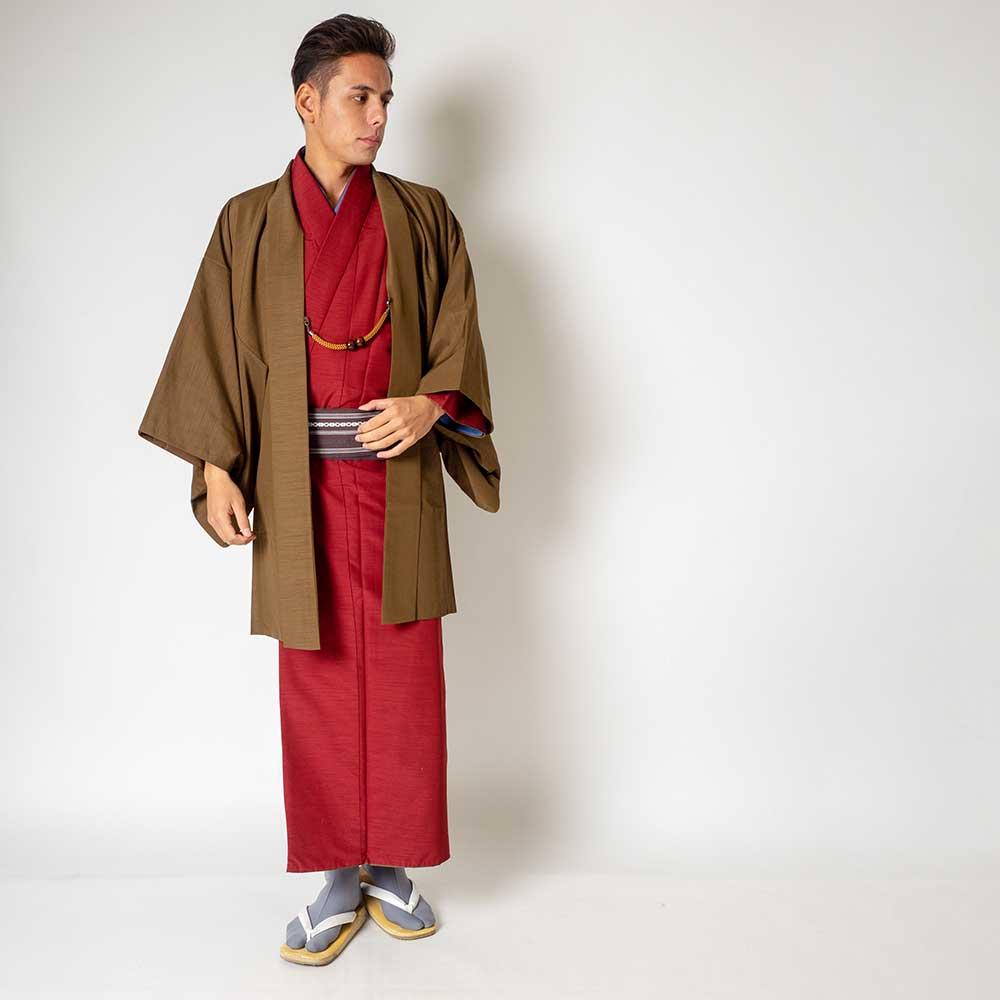 |送料無料|メンズ着物アンサンブル【対応身長180cm〜190cm】【 3Lサイズ】フルセットー着物レッド×羽織ブラウン|往復送料無料|和服|お