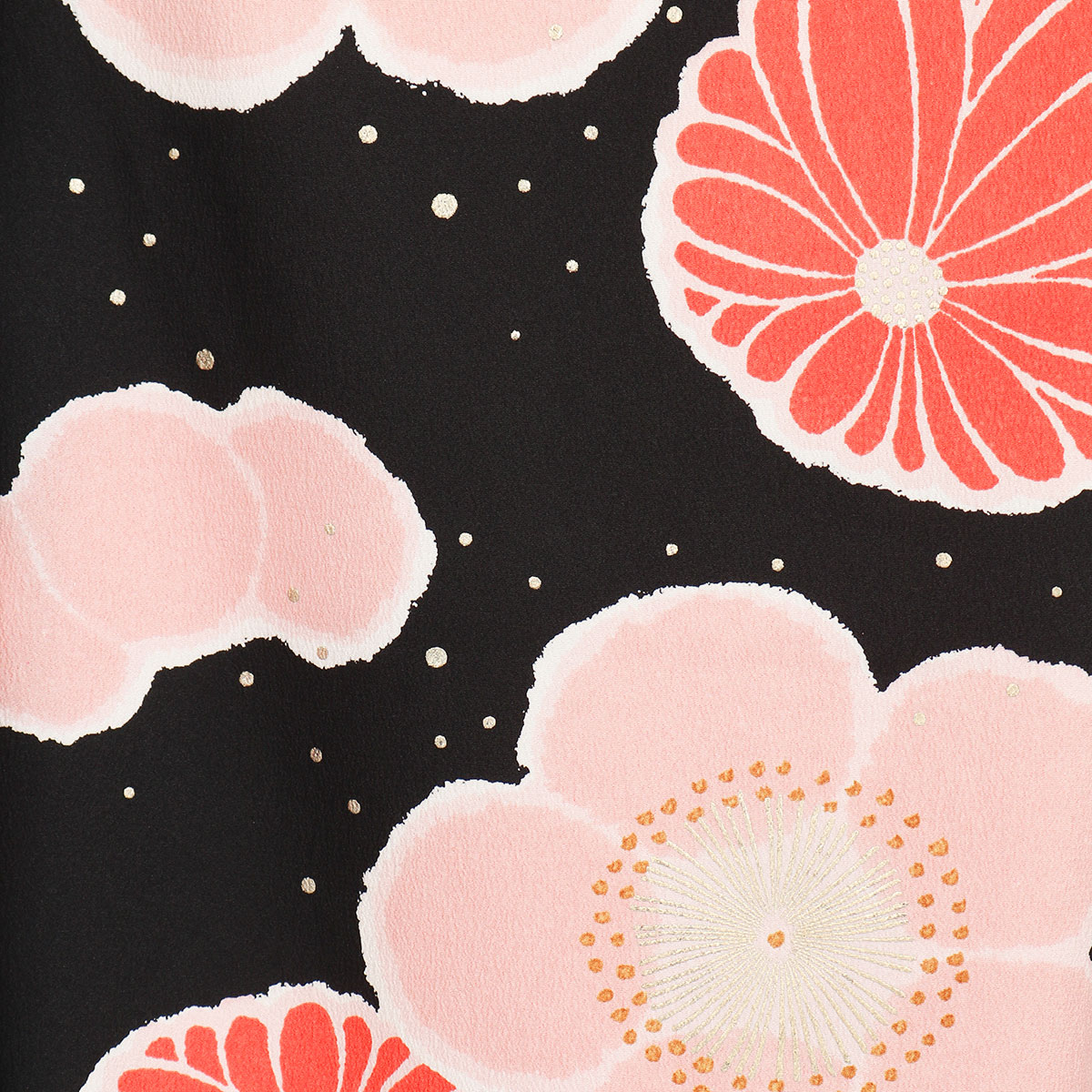 【成人式】 [安心の長期間レンタル]【対応身長155cm〜170cm】レンタル振袖フルセット-585 花柄 レトロ ポップキュート ピンク系 黒系 菊