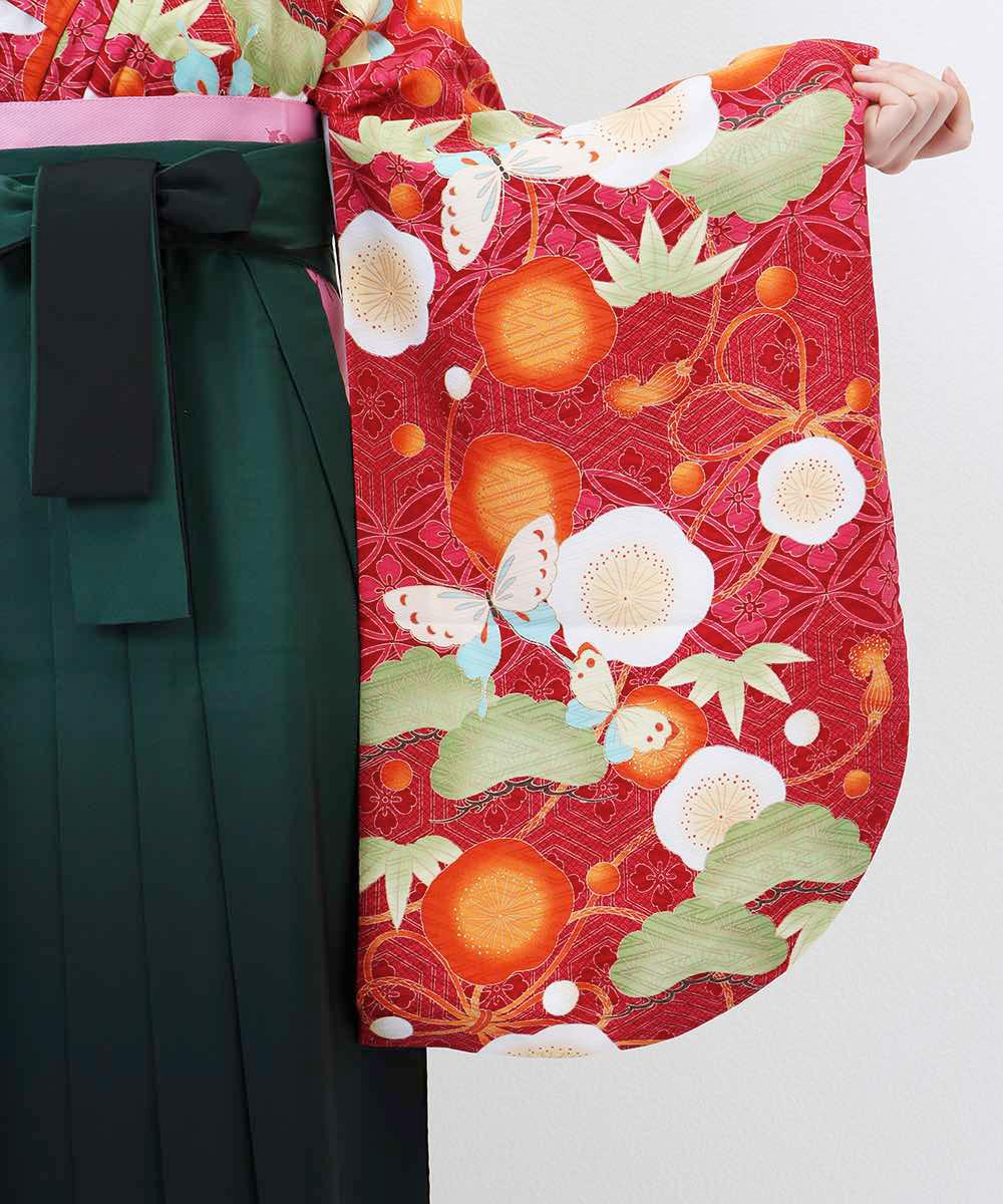 【h】|送料無料|【対応身長157cm〜165cm】【レトロ】卒業式レンタル袴フルセット-1227|マルチカラー|花柄|蝶|梅|松|赤|オレンジ|緑