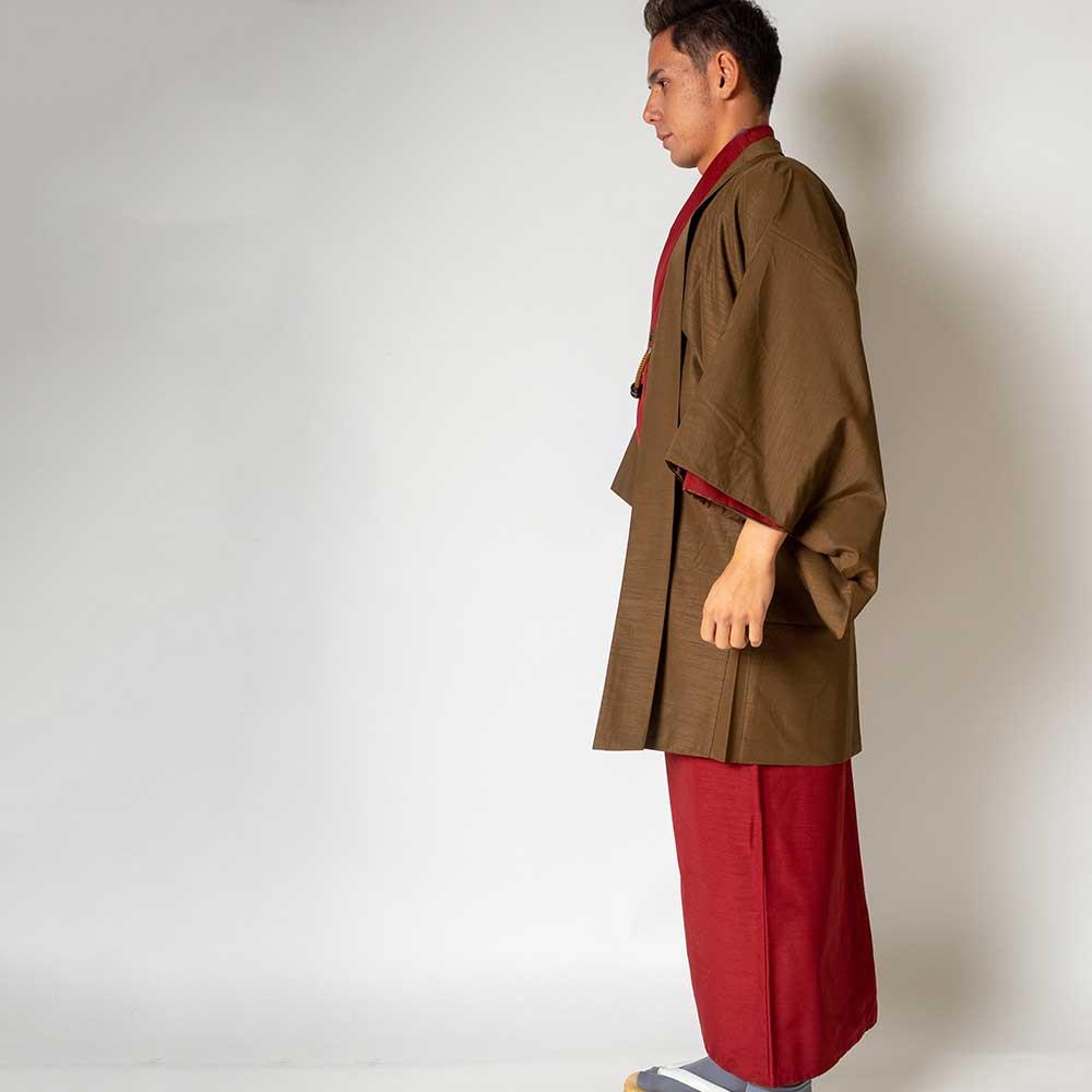 |送料無料|メンズ着物アンサンブル【対応身長165cm〜175cm】【 Mサイズ】フルセットー着物レッド×羽織ブラウン|往復送料無料|和服|お