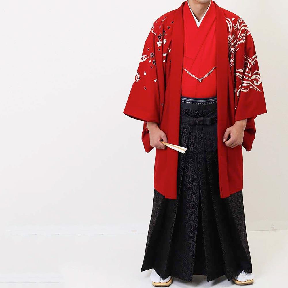 |送料無料|【成人式・卒業式】【成人式・卒業式】男性用レンタル紋付き袴フルセット-7284