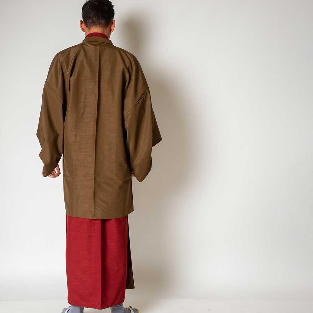 |送料無料|メンズ着物アンサンブル【対応身長160cm〜170cm】【 Sサイズ】フルセットー着物レッド×羽織ブラウン|往復送料無料|和服|お