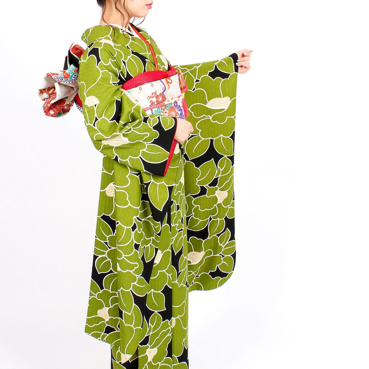【成人式】 [安心の長期間レンタル]【対応身長155cm〜170cm】【合繊】レンタル振袖フルセット-940|レトロ|花柄|クール系|モダン|緑系|黒