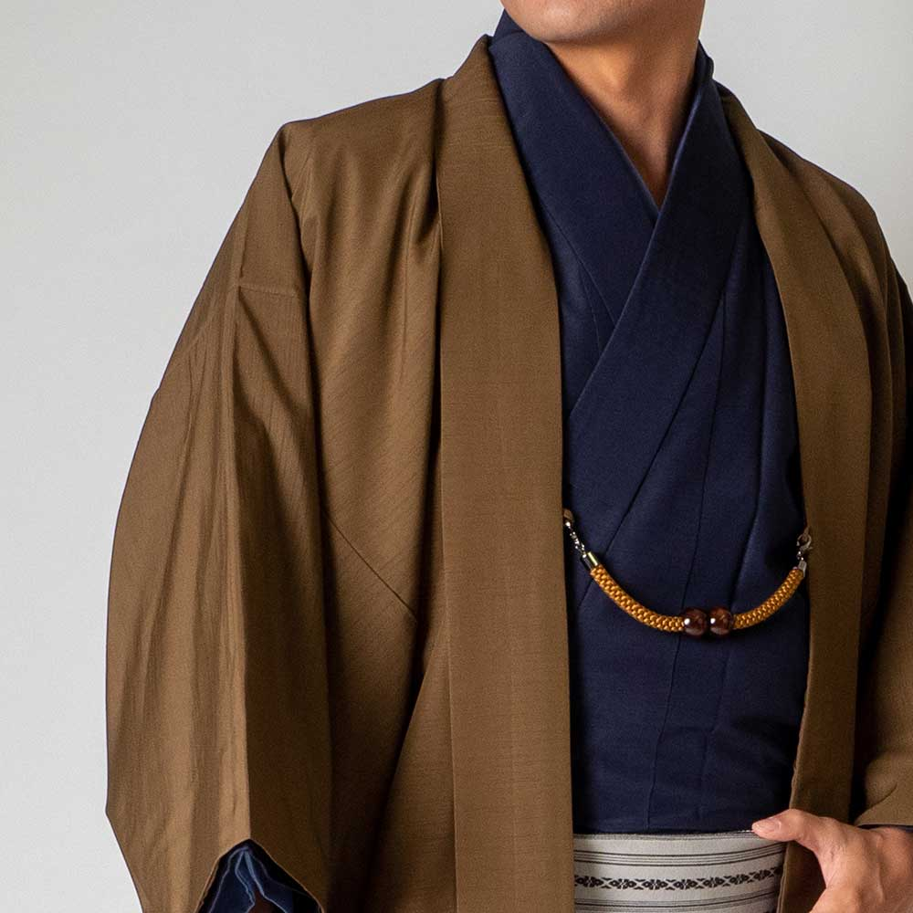 |送料無料|メンズ着物アンサンブル【対応身長175cm〜185cm】【 LLサイズ】フルセットー着物ネイビー×羽織ブラウン|往復送料無料|和服|