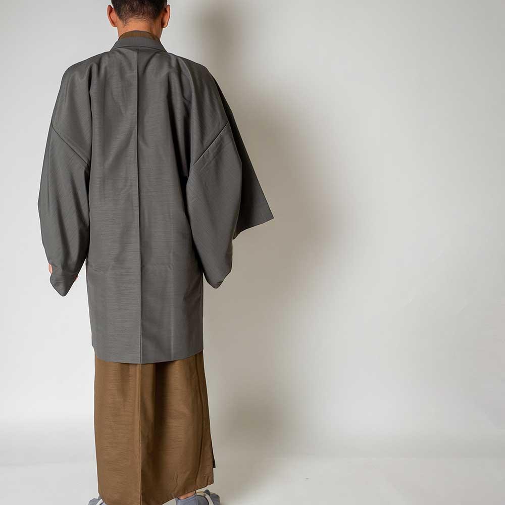  送料無料 メンズ着物アンサンブル【対応身長175cm〜185cm】【 LLサイズ】フルセットー着物ブラウン×羽織グレー 往復送料無料 和服 お