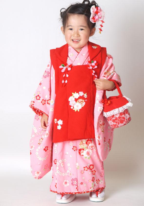 |送料無料||往復送料無料|【レンタル七五三】【 花夢二 】女の子3歳用七五三被布フルセット