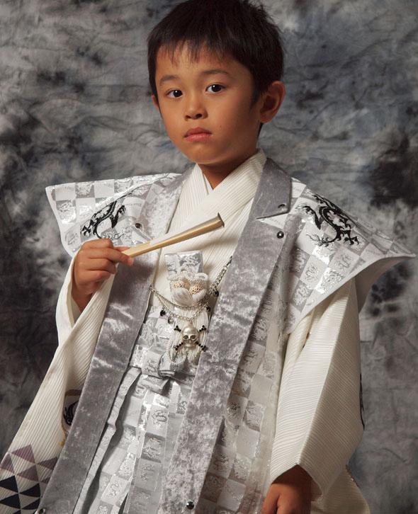  送料無料  往復送料無料 【レンタル七五三】【BLUE CROSS】 男の子5歳用アンサンブル袴フルセット