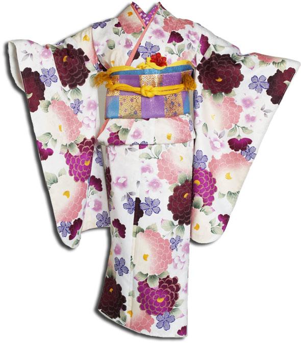 【送料無料】十三参り着物レンタルフルセット(13歳くらいの女の子用着 物)十三詣り-1301
