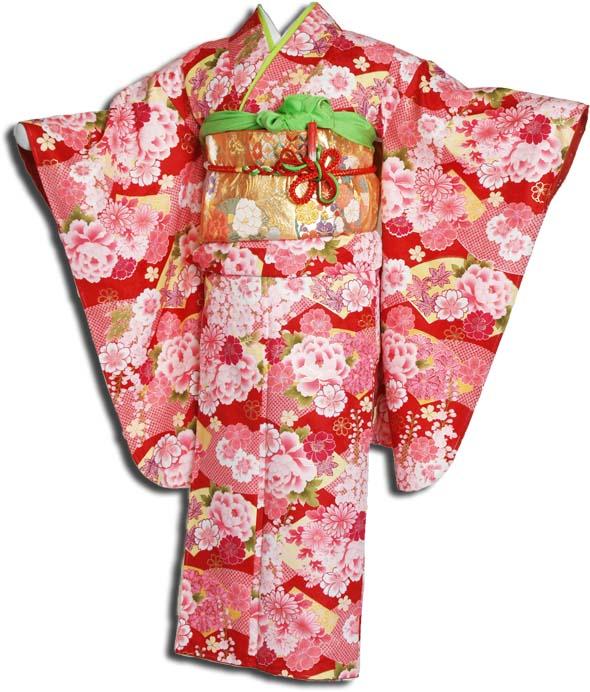 【送料無料】十三参り着物レンタルフルセット(13歳くらいの女の子用着 物)十三詣り-1302
