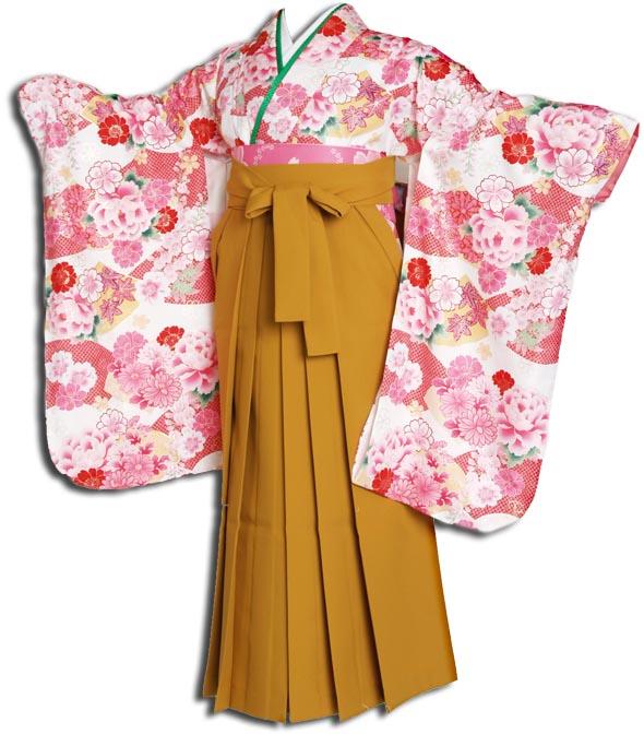 |送料無料||往復送料無料|(13歳くらいの女の子用着物)レンタル十三詣り(十三参り)袴姿フルセット-1305