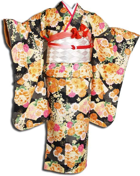 【送料無料】十三参り着物レンタルフルセット(13歳くらいの女の子用着 物)十三詣り-1306